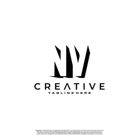 NV Letter Initial Logo Design in shadow shape design concept