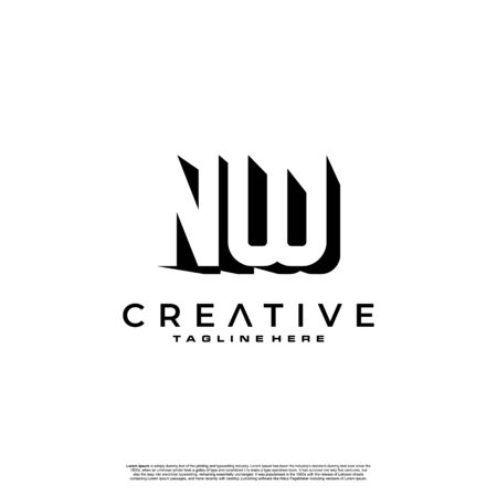 NW Letter Initial Logo Design in shadow shape design concept