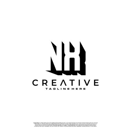 NX Letter Initial Logo Design in shadow shape design concept