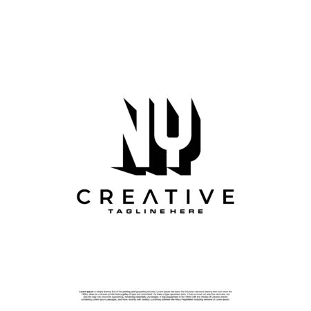 NY Letter Initial Logo Design in shadow shape design concept