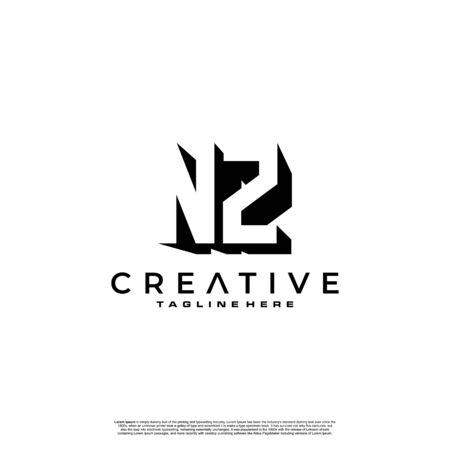 NZ Letter Initial Logo Design in shadow shape design concept Ilustração