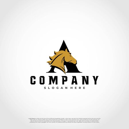 A Initial Letter Logo Design with silhouette horse.