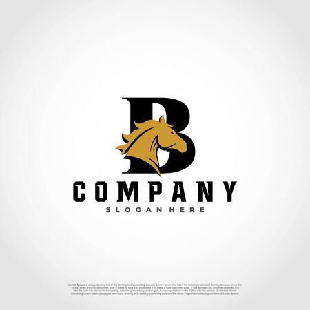 B Initial Letter Logo Design with silhouette horse.  イラスト・ベクター素材