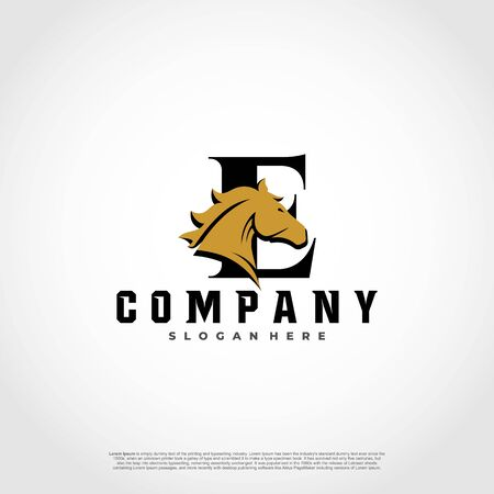 E Initial Letter Logo Design with silhouette horse.  イラスト・ベクター素材