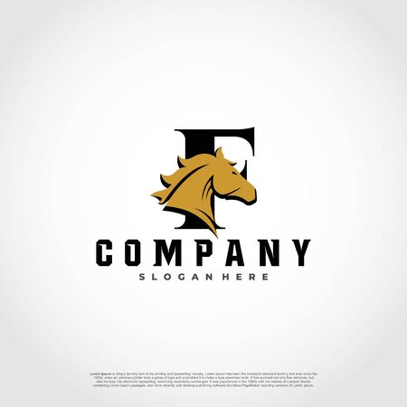 F Initial Letter Logo Design with silhouette horse.  イラスト・ベクター素材