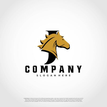 J Initial Letter Logo Design with silhouette horse.  イラスト・ベクター素材