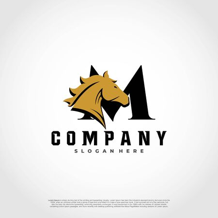 M Initial Letter Logo Design with silhouette horse.