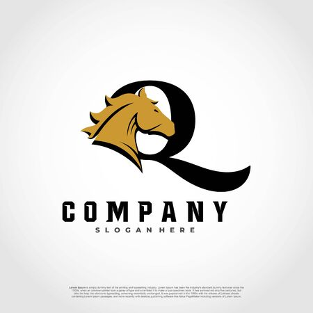 Q Initial Letter Logo Design with silhouette horse.