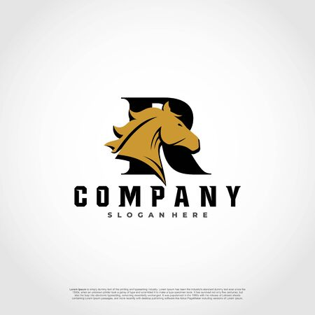 R Initial Letter Logo Design with silhouette horse.  イラスト・ベクター素材