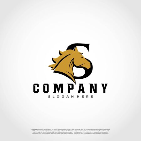 S Initial Letter Logo Design with silhouette horse.