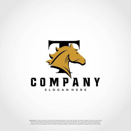 T Initial Letter Logo Design with silhouette horse.