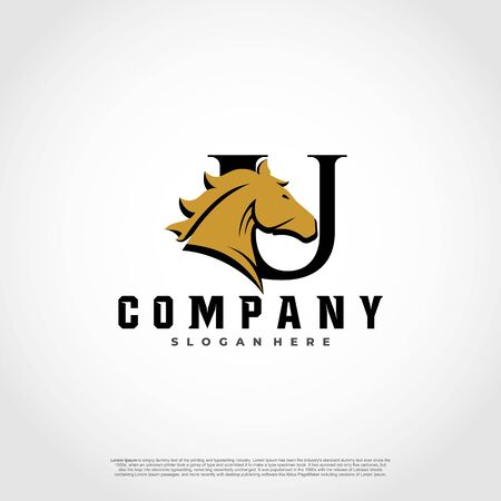 U Initial Letter Logo Design with silhouette horse.