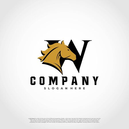 W Initial Letter Logo Design with silhouette horse.  イラスト・ベクター素材