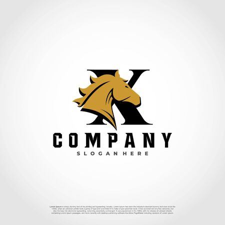 X Initial Letter Logo Design with silhouette horse.  イラスト・ベクター素材