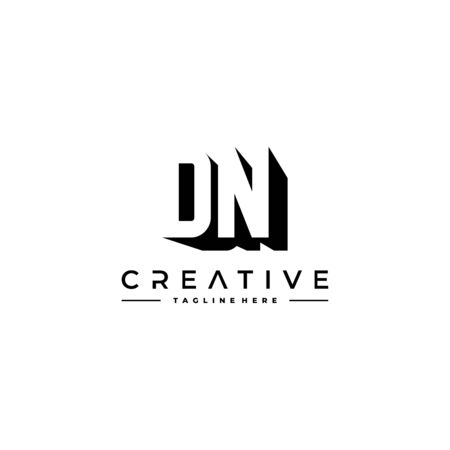 DN Letter Initial Logo Design in shadow shape design concept.