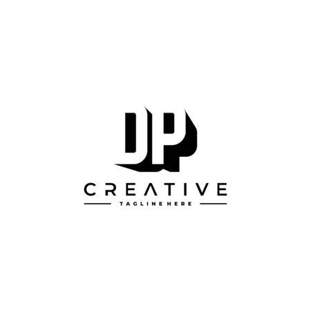 DP Letter Initial Logo Design in shadow shape design concept.