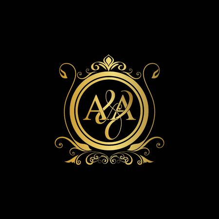 A & A AA logo initial Luxury ornament emblem. Initial luxury art vector mark logo, gold color on black background. Logo