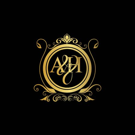 A & H AH logo initial Luxury ornament emblem. Initial luxury art vector mark logo, gold color on black background.