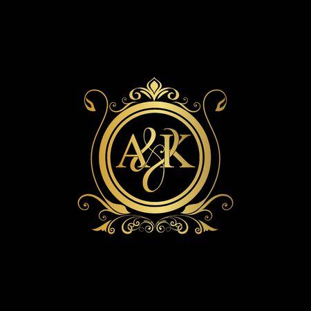 A & K AK logo initial Luxury ornament emblem. Initial luxury art vector mark logo, gold color on black background.