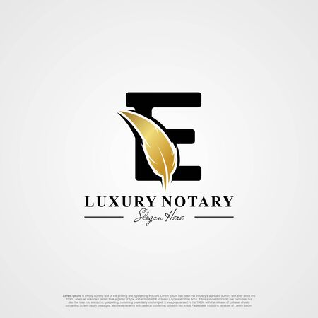 Letter E Initial logo with Feather Luxury gold.