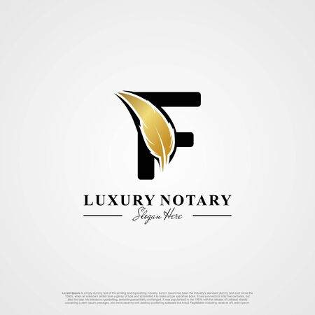 Letter F Initial logo with Feather Luxury gold.
