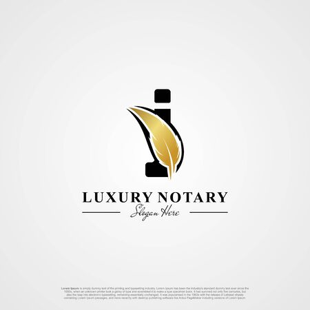 Letter I Initial logo with Feather Luxury gold.