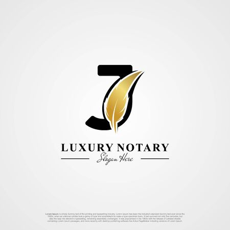 Letter J Initial logo with Feather Luxury gold.