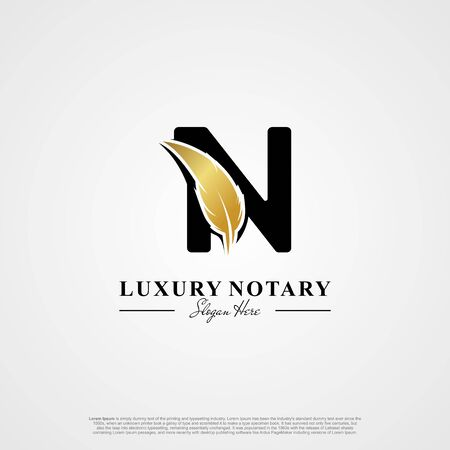 Letter N Initial logo with Feather Luxury gold.