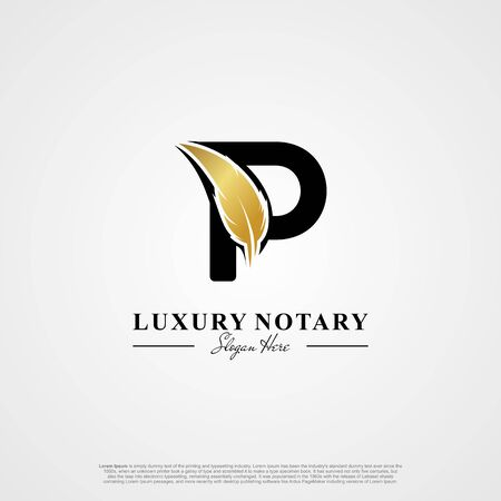 Letter P Initial logo with Feather Luxury gold. Ilustração