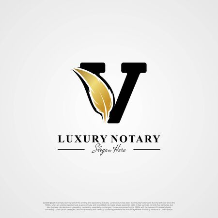 Letter V Initial logo with Feather Luxury gold.