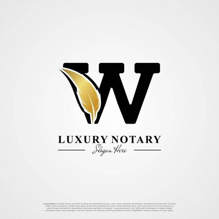 Letter W Initial logo with Feather Luxury gold.