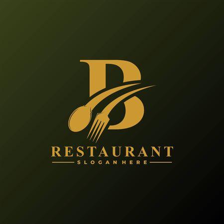Logo de la lettre initiale B avec cuillère et fourchette pour le modèle de logo de restaurant. Fichier modifiable EPS10.