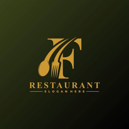Initial Letter F Logo with Spoon And Fork for Restaurant logo Template. Editable file EPS10. 矢量图像