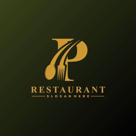 Anfangsbuchstabe P-Logo mit Löffel und Gabel für Restaurant-Logo-Vorlage. Bearbeitbare Datei.