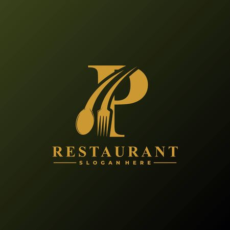 Initial Letter P Logo with Spoon And Fork for Restaurant logo Template. Editable file.