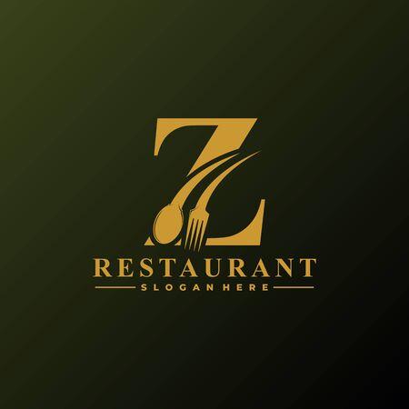 Logotipo de la letra inicial Z con cuchara y tenedor para plantilla de logotipo de restaurante. Archivo editable EPS10. Logos