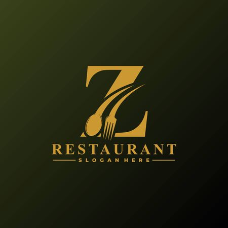 Initial Letter Z Logo with Spoon And Fork for Restaurant logo Template. Editable file EPS10.