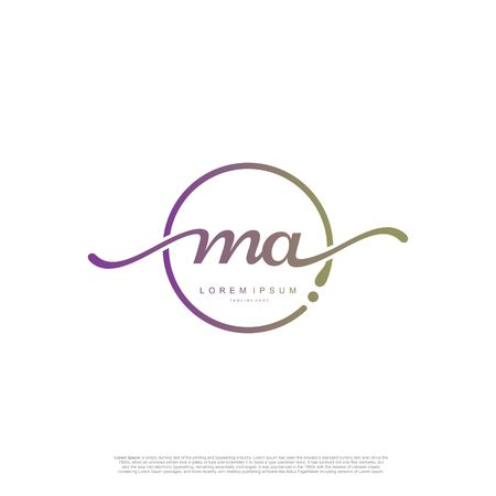 Initial handwriting logo MA Letter Signature template vector.