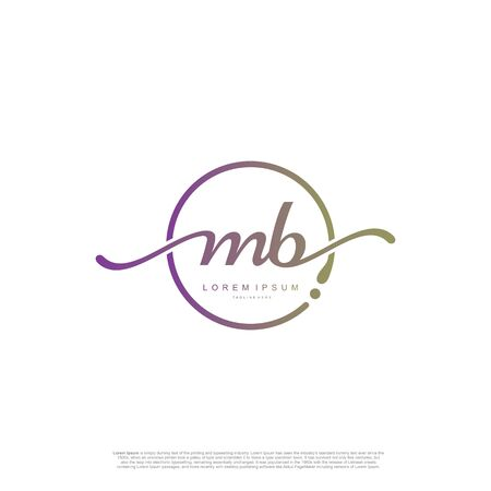 Initial handwriting logo MB Letter Signature template vector.