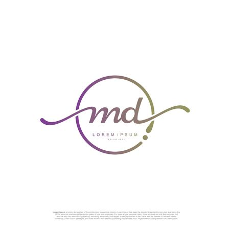 Initial handwriting logo MD Letter Signature template vector.
