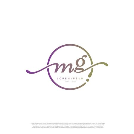 Initial handwriting logo MG Letter Signature template vector.