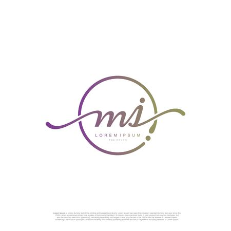 Initial handwriting logo MJ Letter Signature template vector. Ilustracja