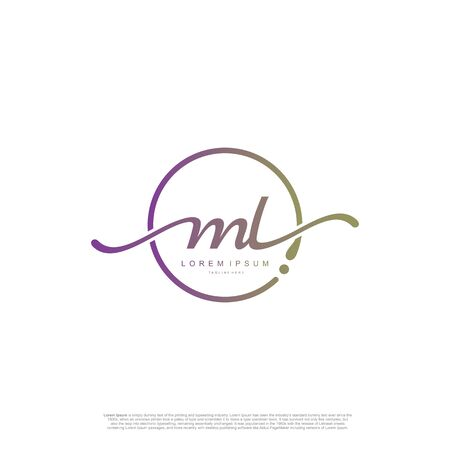 Initial handwriting logo ML Letter Signature template vector. Ilustracja