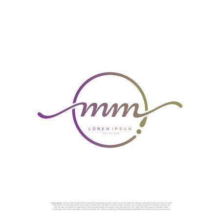 Initial handwriting logo MM Letter Signature template vector.