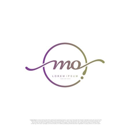 Initial handwriting logo MO Letter Signature template vector. Ilustracja
