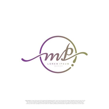 Initial handwriting logo MP Letter Signature template vector.