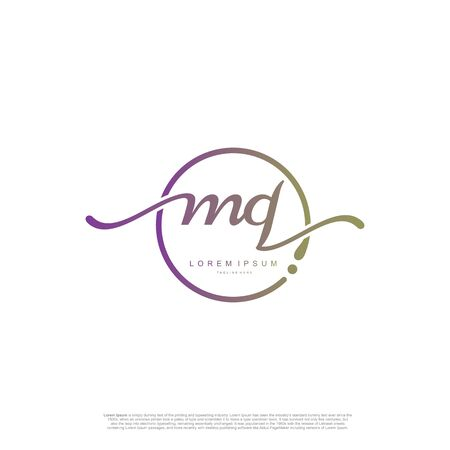 Initial handwriting logo MQ Letter Signature template vector.