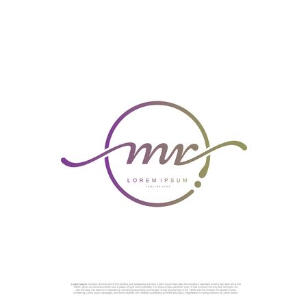 Initial handwriting logo MR Letter Signature template vector.