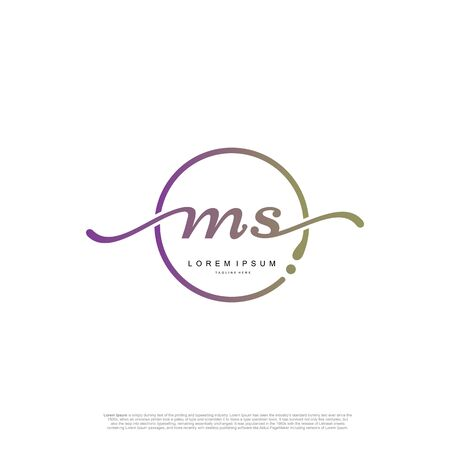 Initial handwriting logo MS Letter Signature template vector.