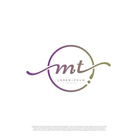 Initial handwriting logo MT Letter Signature template vector.